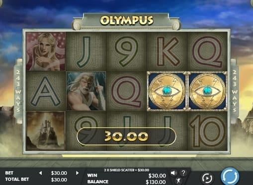 Выигрышная комбинация с диким символом в аппарате Olympus