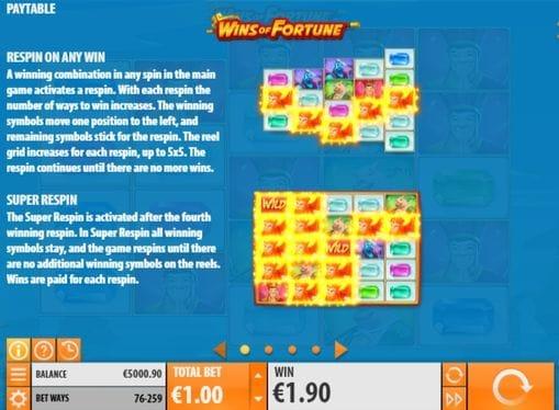 Описание респинов в аппарате Wins of Fortune