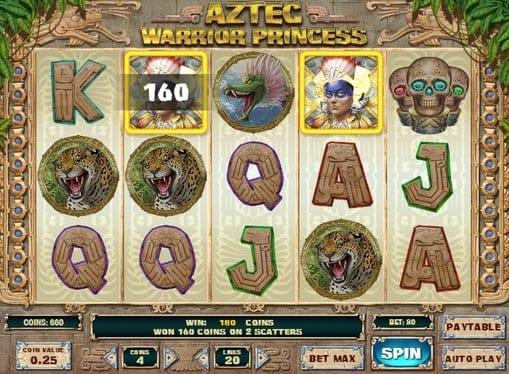Выигрышная комбинация символов в автомате Aztec Warrior Princess