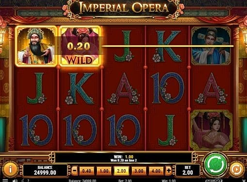 Выигрышная комбинация на линии в автомате Imperial Opera