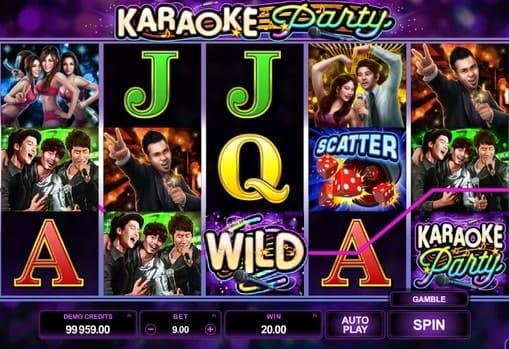 Комбинация с диким символом в автомате Karaoke Party