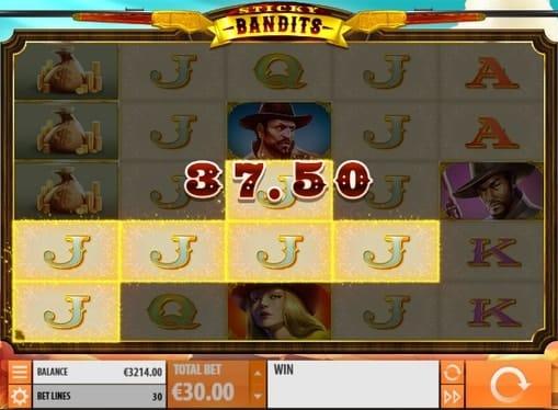 Выигрышная комбинация в автомате Sticky Bandits