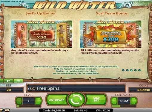 Правила игры в автомате Wild Water