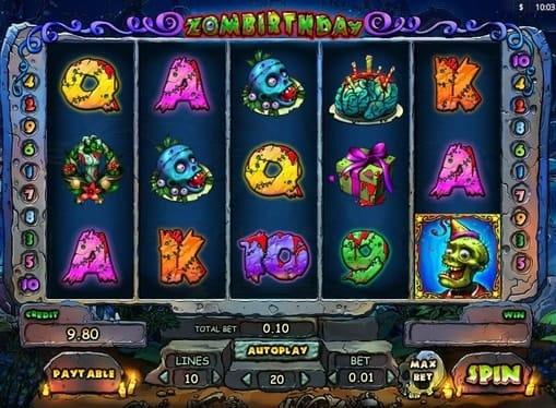 Комбинация символов в игровом автомате Zombirthday