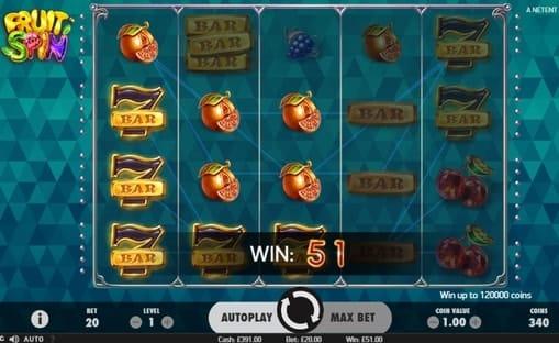 Комбинации на линиях в игре Fruit Spin
