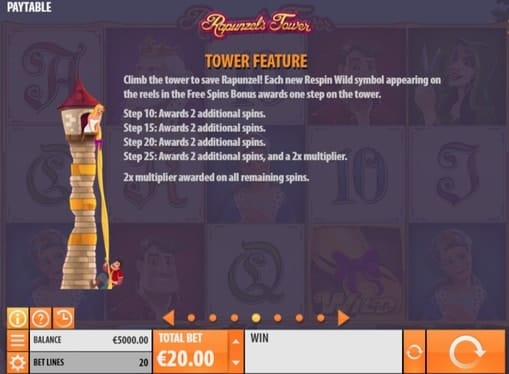 Правила фриспинов в игре Rapunzel's Tower