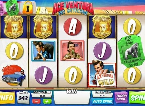 Комбинация символов игрового автомата Ace Ventura