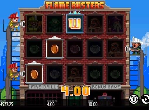 Выигрыш на линии в игровом аппарате Flame Busters