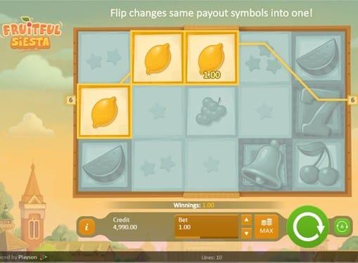 Комбинация символов на линии в игровом аппарате Fruitful Siesta