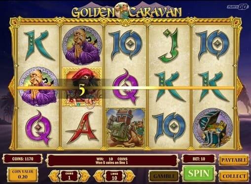 Выигрышная комбинация в игровом аппарате Golden Caravan