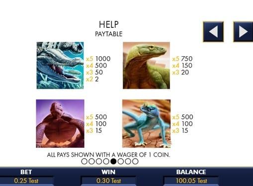 Таблица коэффициентов в игровом аппарате Reptile Riches