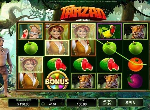 Выигрышная комбинация символов в игровом аппарате Tarzan