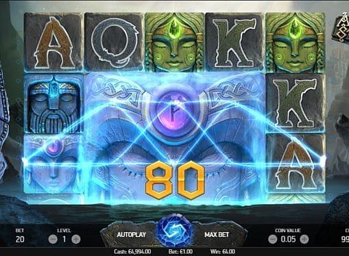 Призовая комбинация на линии в игровом автомате Asgardian Stones