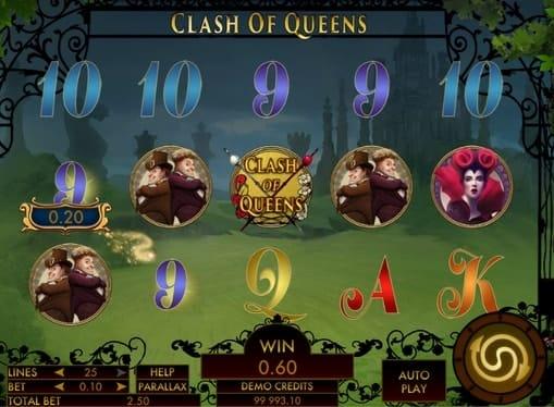 Выигрышная комбинация в игровом автомате Clash of Queens