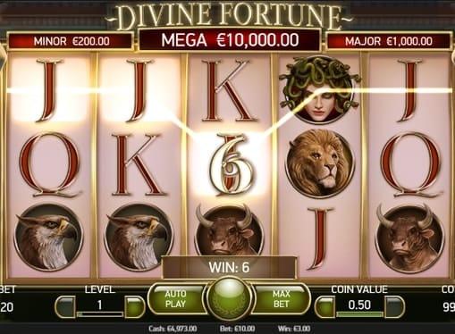 Призовая комбинация в игровом автомате Divine Fortune