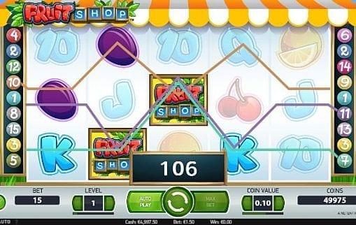 Призовая комбинация на линии в игровом автомате Игровой автомат Fruit Shop - призовая комбинация на линии