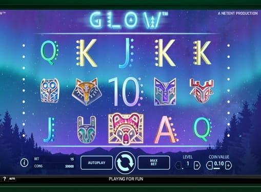 Комбинация знаков в игровом автомате Glow