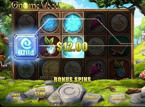 Призовая комбинация на линии в игровом автомате Gnome Wood