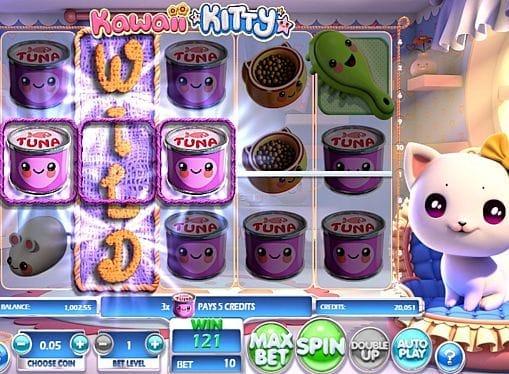 Призовая комбинация с диким знаком в игровом автомате Kawaii Kitty