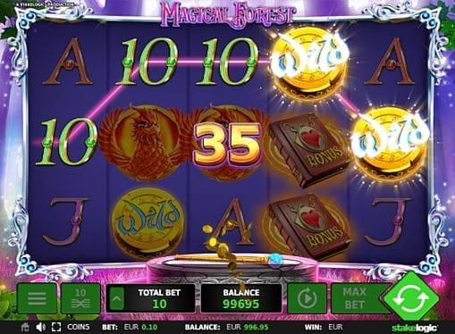 Призовая комбинация на линии в игровом автомате Magical Forest