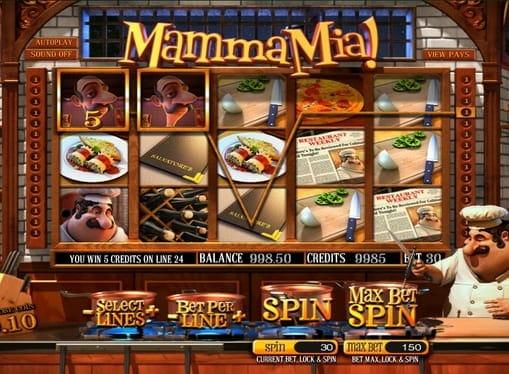 Призовая комбинация символов в игровом автомате Mamma Mia
