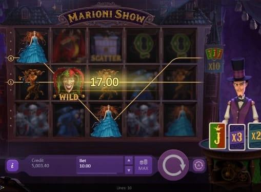 Комбинация символов на линии игрового автомата Marioni Show
