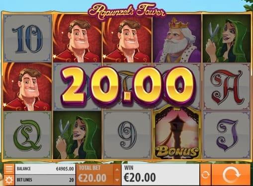 Призовая комбинация символов в игровом автомате Rapunzel's Tower