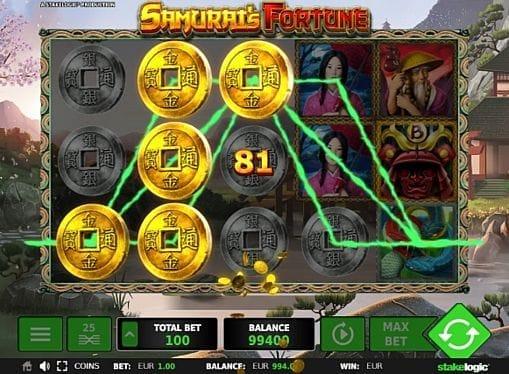 Призовая комбинация на линии в игровом автовмате Samurai's Fortune