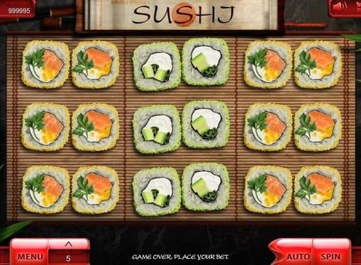 Комбинация символов в игровом автомате Sushi