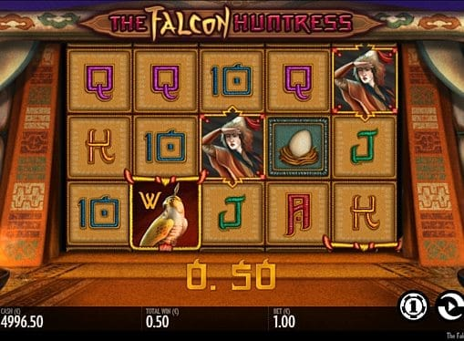 Призовая комбинация символов в игровом автомате The Falcon Huntress