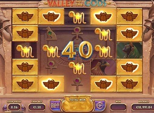 Призовая комбинация на линии в игровом автомате Valley of the Gods