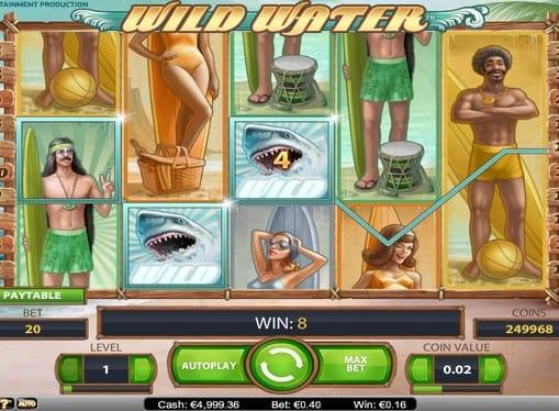 Комбинация символов с диким знаком в игровом автомате Wild Water