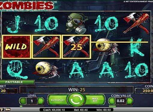 Призовая комбинация символов в игровом автомате Zombies