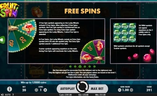Правила фриспинов в онлайн автомате Fruit Spin