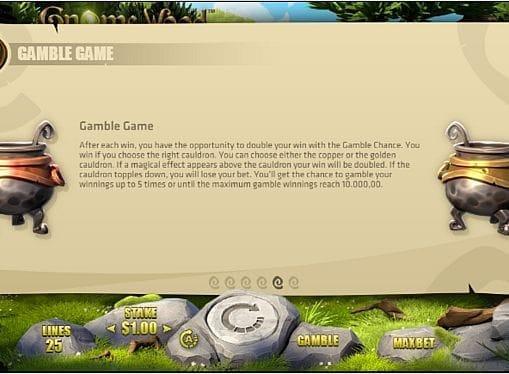 Риск-игра в онлайн слоте Gnome Wood